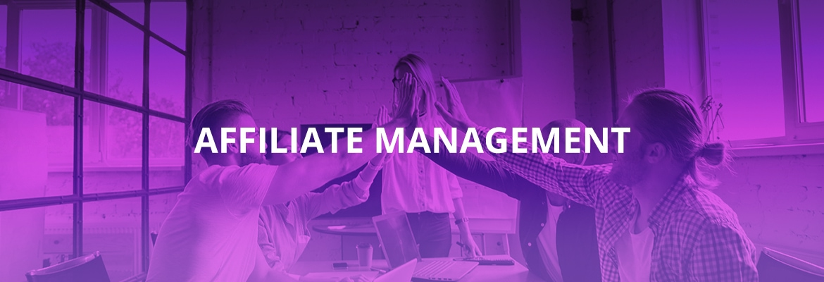 affiliate management advertise purple showing affiliate managers working together
