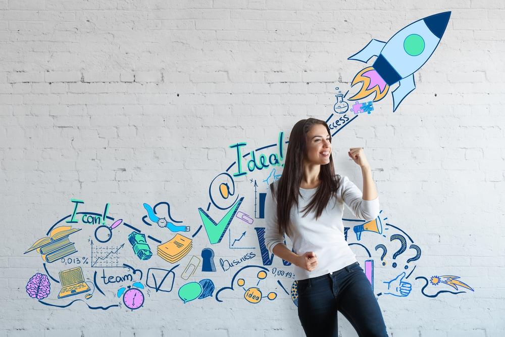 affiliate marketing success girl pumping fist